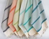 BathStyle / Turkish Beach Bath Towel Peshtemal / Marine Style / Natural Teal green Striped / Bath, Beach, Spa, Swim, Pool Towels