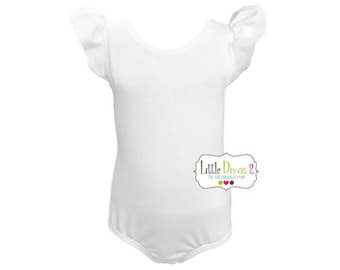 WHITE LEOTARD (Child) Flutter/Ruffle Sleeve Leotard