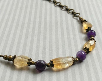 Faceted Citrine and Amethyst Gemstones on an Antiqued Gold-Plated Brass Chain Choker Necklace