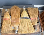 Collection of Four Whisk Brooms Straw Wall Hanging Vintage Display Wisk Hand Brooms Decor Primitive Art