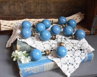 Set of 12 Round Porcelain Drawer Pulls Vintage Blue Knobs Vintage Knobs Round Brass Knobs Drawer Pulls Drawer Knobs