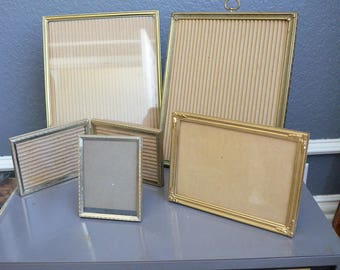 Collection of Five Vintage Picture Frames Glass Thin Frames Gold Frames Lot Standing Folding Brass Size 10 8 5 7 by Vintage Small Large