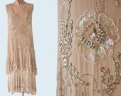 1920s Sheer Pink Beaded Flapper Dress size S