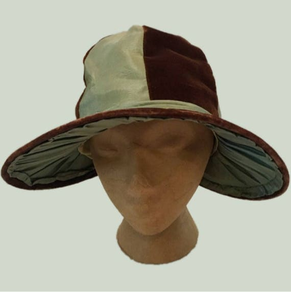 Edwardian Hat Kentucky Derby Striped Brown and Aqua Velvet and Silk