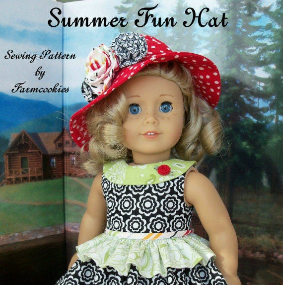 "PRINTED Sewing Pattern for American Girl Dolls:  Summer Fun  HAT ONLY / Sewing Pattern for 18"" Dolls"