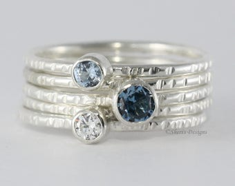 3 Gemstone Faceted Sterling Silver Stacking Rings, 4mm and 3mm gems, Family and Mother's Ring Set  Skinny Rings Custom made