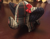 RESERVED for teamcrowell- Large Stuffed Elephant- Plaid