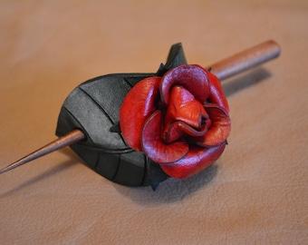 Leather Hair Barrette - Red Rose v2