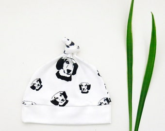 Beagle Organic Cotton Baby Beanie Hat, Newborn Hospital Hat, Organic Infant Knotted Hat, Organic Baby Shower, Beagle Organic Baby Clothes