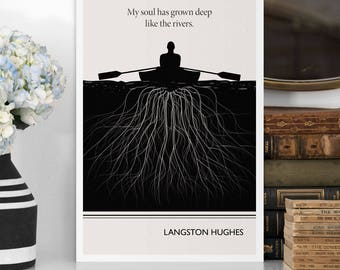 "Literary Art Print, ""Langston Hughes"" Large Wall Art Posters, Literary Quote Poster, Illustration, Black History Month, Literary Gift"