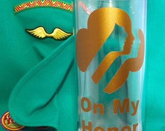 Bronze, Silver or Gold award Girl Scout skinny tumbler- 16 oz