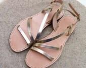 SALE leather sandals, women shoes , gold sandals, wedding sandals, bridesmaids sandals