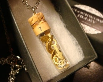 Watchmakers Vial with Gears and  Watch Parts Steampunk Style Necklace  (2234)