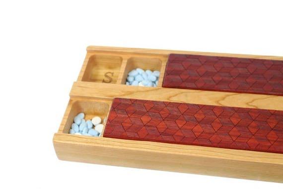 Cube Pattern JUMBO Day/Night Weekly Pill Boxes, Pattern JV1, Padauk hardwood top and Solid Cherry Bottom, Paul Szewc, Masterpiece Laser