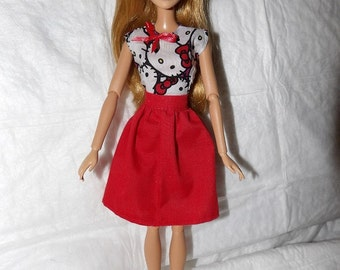 Full red skirt & cartoon kitty top with bow accent for Fashion Dolls - ed975