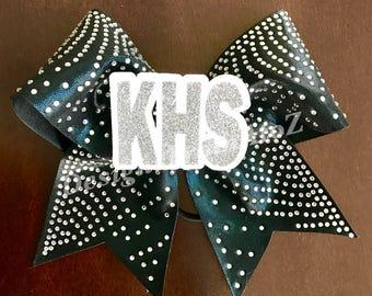 Black Rhinestone High School Cheer Bow