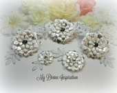 Silver Oyster White Ivory Paper Flowers and Paper Embellishments for Scrapbook Layouts Cards Tags Mini Albums Altered Art and Paper Crafts