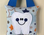 Tooth Fairy Pillow- Blue and Grey Stars Pillow with Blue Ribbon - Kids Pillow - Kids Gift