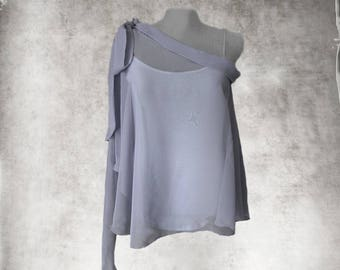 Cape one shoulder top/dressy asymmetrical blouse/long sleeve cover up