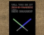 Star Wars Theme Card | Will You Be My Jedi In Training / Will You Be My Ring Bearer / Be My Usher / Will You Be My Best Man - Wedding Invite