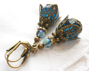 victorian dangle earrings teal earrings teal dangle earrings teal and bronze vintage style earrings teal earrings