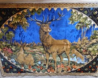 Vintage Cottage Cabin B&B Lodge Inn Italy Velvet Deer Tapestry Wall Hanging Rug