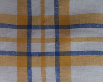 Vintage Yellow Blue White Stripe Plaid Picnic Linen Cotton Tablecloth