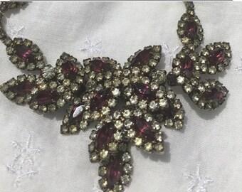 "Purple MARQUISE & Rhinestone 18"" necklace ~GORGEOUS VINTAGE"