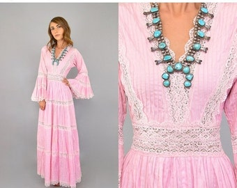 ANNIVERSARY SALE 50's Pink MEXICAN Wedding Dress