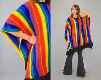 80's Rainbow Stripe Fringed Poncho