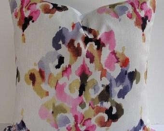 Designer Fuschia  Decorative pillow cover Throw pillow purple pink orange gold green white cotton blend 20x20 22x22 24x24