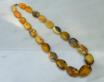 """Baltic Amber Jewelry Butterscotch Necklace Raw Olive Beads Untreated 22.5"""" 74.3 gram"""