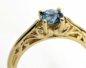 Montana Sapphire Ring in 14K Gold, Solitaire Engagement Ring, Alternative Engagement, Blue Montana Sapphire Precision Faceted in the USA