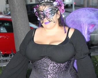 PURPLE DARK FAiRY WiNGS Queen Maleficent midnight nymph Festival fusion larp dance FAErie Tinkerbell Elf Costume Medieval Elven Renaissance
