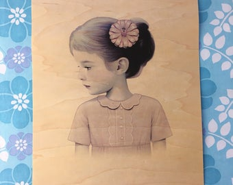"11x14"" print on maple wood of ""girl and pink flower"" by Sean Mahan"