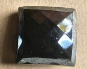 6 Vintage Square Black Glass Buttons in Faceted Design for Sewing and Crafting