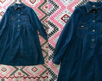 Vintage 1970's Jag Jr. Long Sleeved Button Up Denim Dress Women's XS / Retro/Preppy/Boho Bohemian Women's Dress Jeans Blue Denim Raw