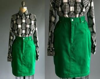 Vintage 1990's Emerald Green Denim Skirt Women's Medium Large