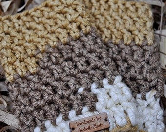Crochet Fingerless Gloves Gold Brown Off White