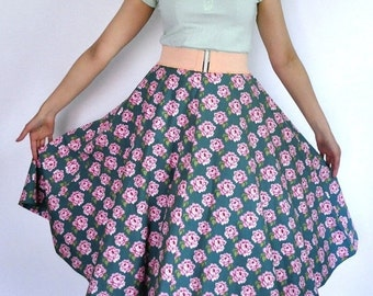 Season sale SALE 50s style circle skirt in sea green cotton with pink roses, size M / waist 29 inches