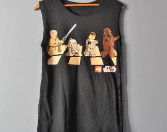 Lego STAR WARS Deconstructed T Shirt/Upcycled Star Wars Tee in Black/Japanese Boro Sashiko Stitch