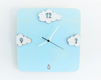Clouds square wall clock, aqua and white unique clock, kids clock ,children clock , kids decor