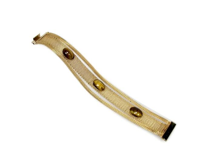 Vintage Mesh Bracelet with Tiger Eye Circa 1960s