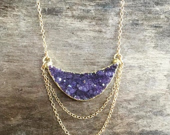 Druzy Necklace, Druzy Chandelier Necklace, Amethyst Necklace, Druzy Pendant, Druzy Jewelry, Drusy Necklace, 14K Gold Fill, Geode Necklace