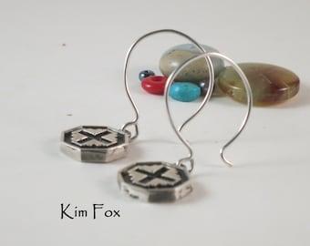 Well Balanced Cross Six Sided Earrings in Sterling Silver designed by Kim Fox