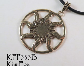 Sun Dance Pendant - round 1 7/8 inch two sided pendant with large bail in golden bronze by Kim Fox