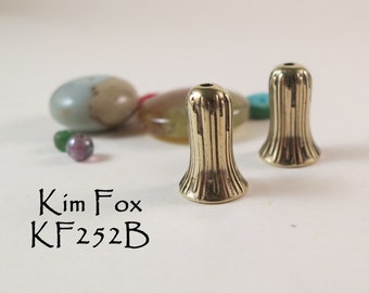 Small Trumpet Flower Cones in Golden Bronze - 13 mm by 7mm flaired opening - designed by Kim Fox