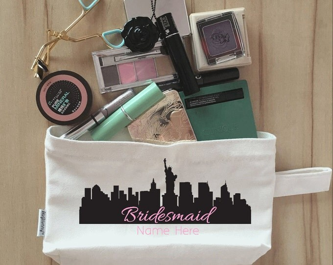 Bridal Party Makeup Bag, Clutch, Canvas, Bridesmaid Makeup Pouch, Wristlet, Customize Skyline