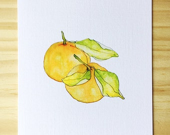 Tangerine Watercolor- Blank Card