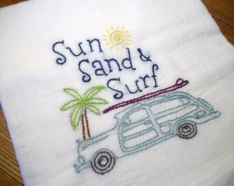 Dish (Tea) Towel Flour Sack Dish Towel Hand Embroidered Dish Towel Cotton Dish Towel Fun in the Sun Dish Towel Summer Dish Towel